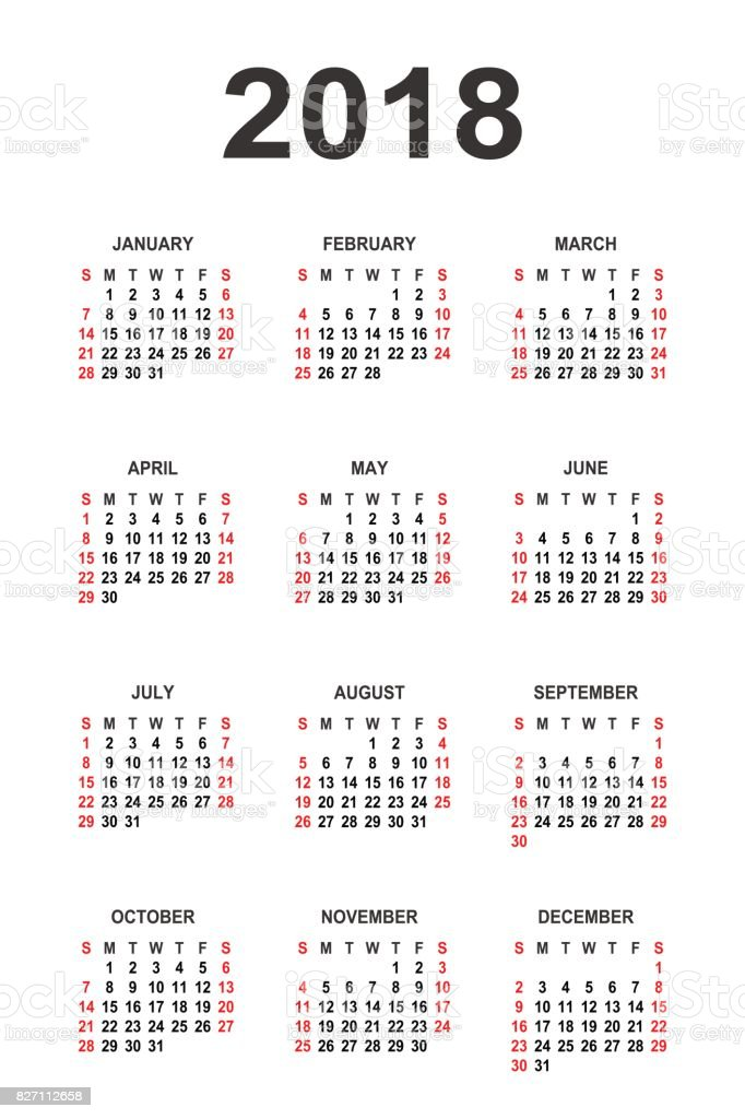 Calendar 2018 year vector design template vector art illustration
