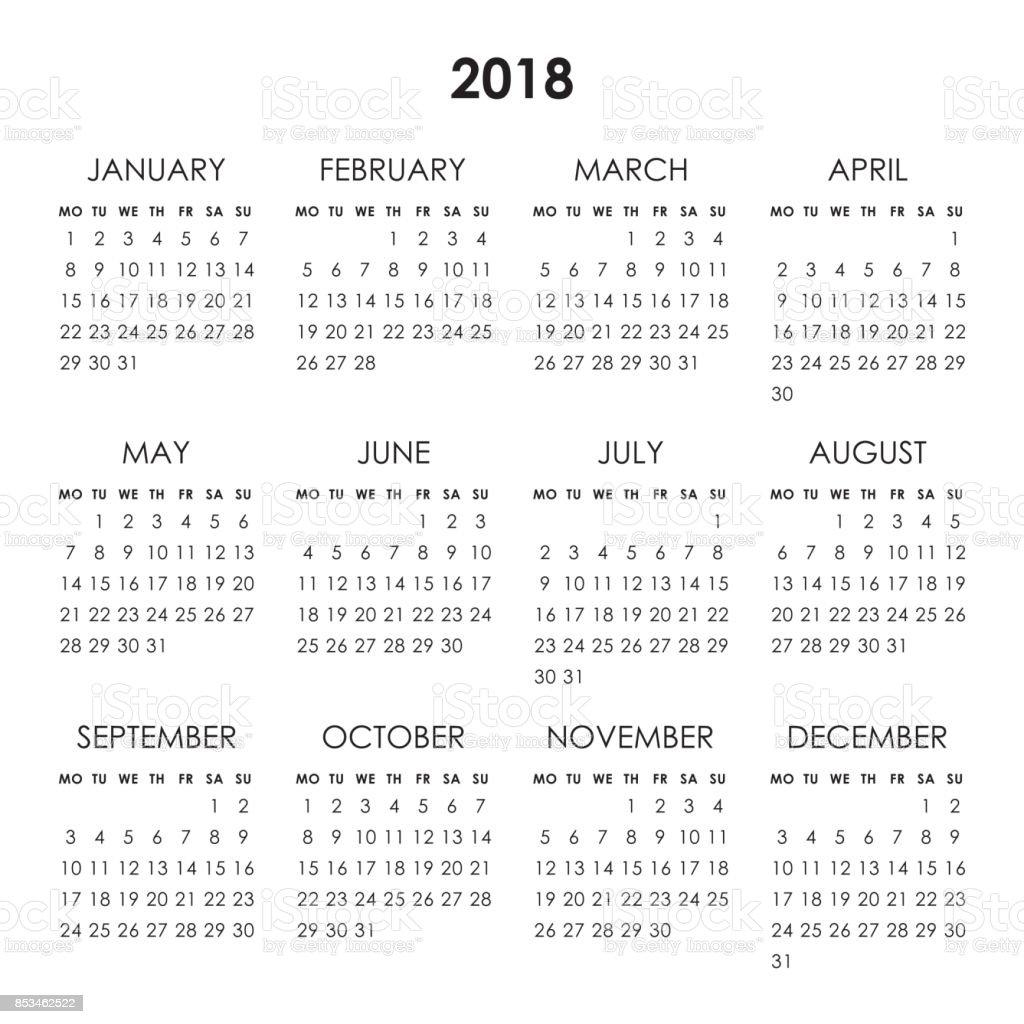 Calendar 2018 year vector art illustration