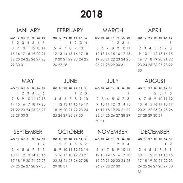 2018 kalenderjahr - monatskalender stock-grafiken, -clipart, -cartoons und -symbole