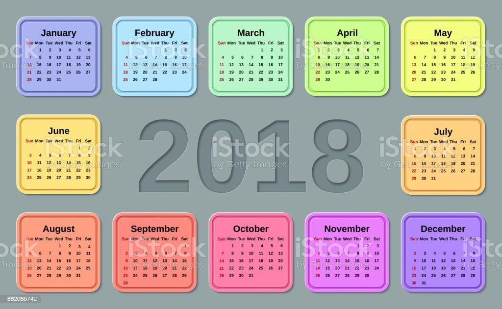 Calendar 2018 Year Vector Illustration Template Planner Stock Vector ...