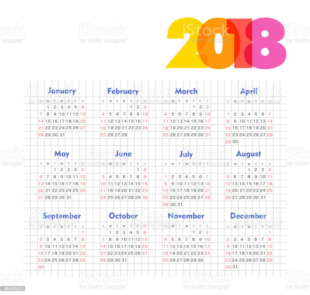 Calendar 2018 year. Week starts from Sunday royalty-free calendar 2018 year week starts from sunday stock vector art & more images of 2018
