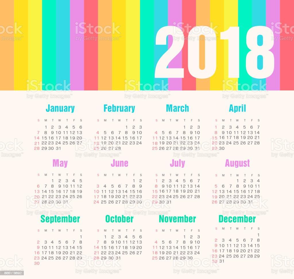 Calendario Del Ano 1969.Ilustracion De Ano Calendario 2018 La Semana Empieza En