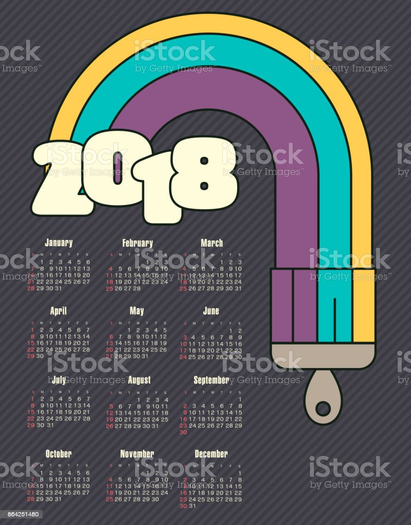 Calendar 2018 year with colored streaks royalty-free calendar 2018 year with colored streaks stock vector art & more images of 2018
