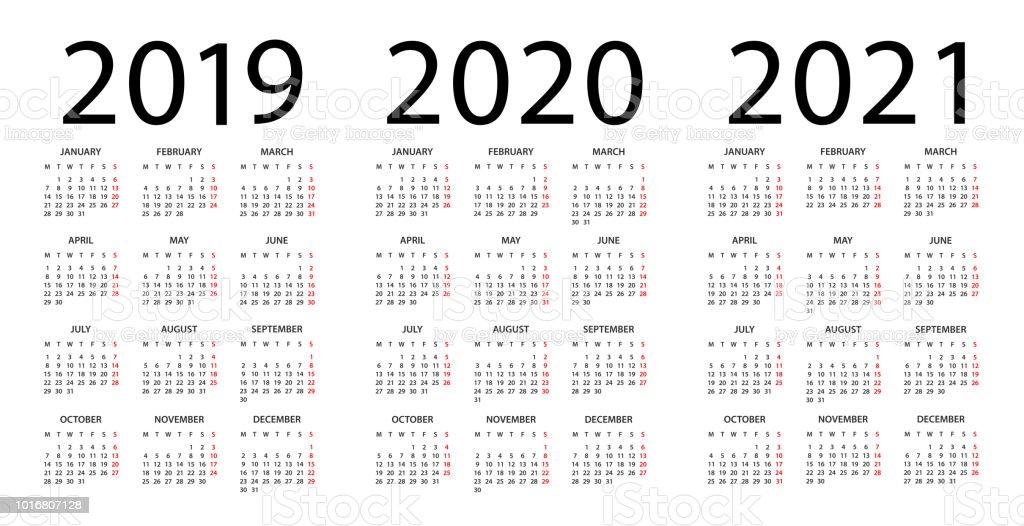 Calendario 2019 2020.Calendar 2019 2020 2021 Illustration Week Starts On Monday Stock