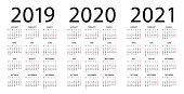 Calendar 2019 2020 2021 year - vector illustration. Week starts on Monday