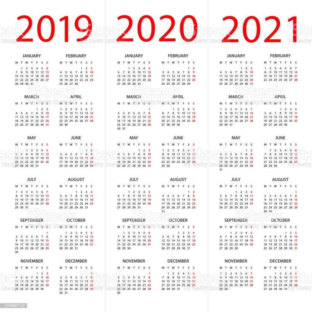 kalender 2019 2020 2021 illustratie week begint op maandag. Black Bedroom Furniture Sets. Home Design Ideas