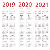 Calendar 2019 2020 2021 year - vector illustration. Week starts on Sunday