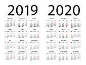 Calendar 2019 2020 year - vector illustration. Week starts on Monday