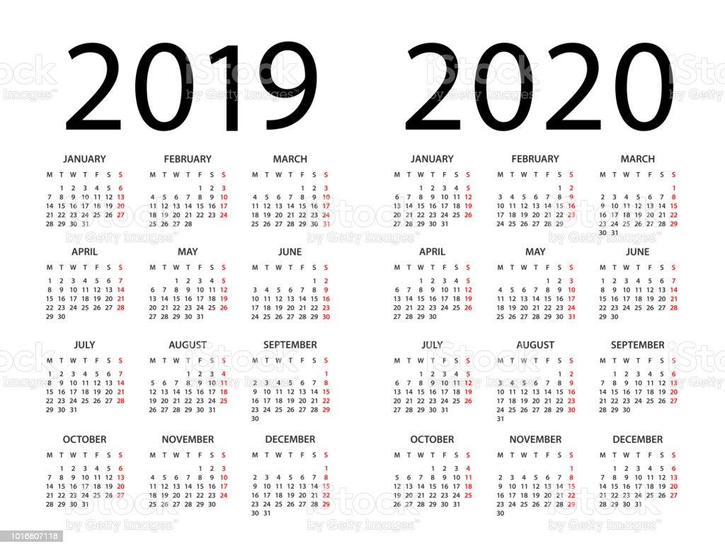 Calendrier 2019 2020 - illustration. La semaine commence le lundi - Illustration vectorielle
