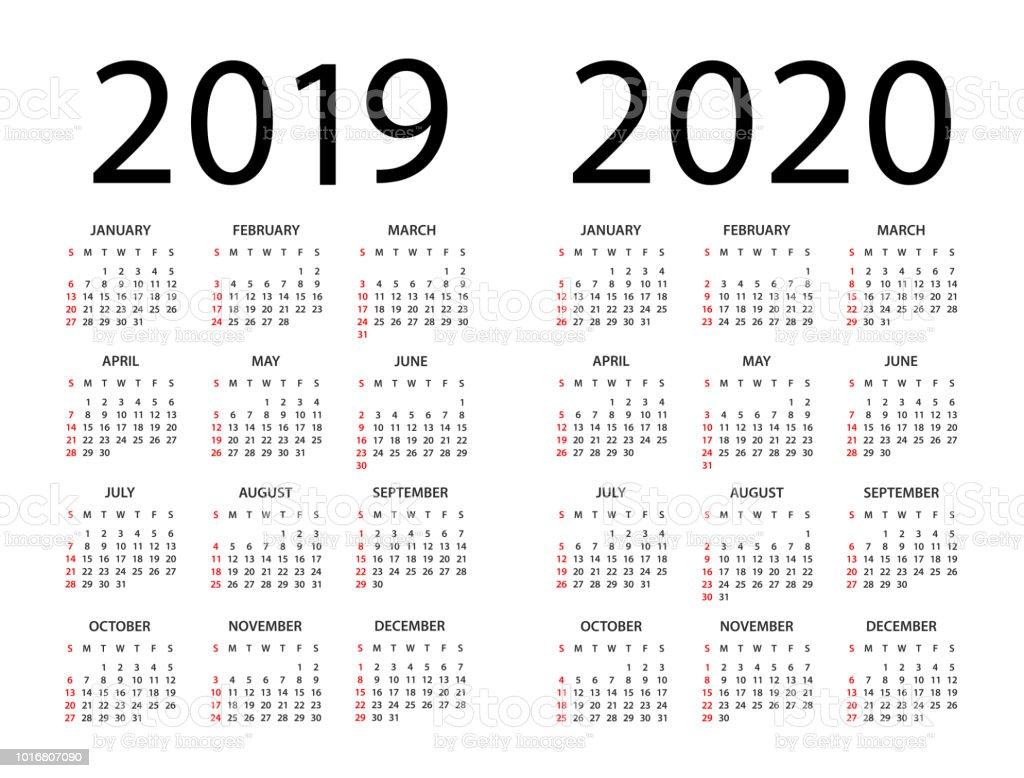 Calendrier Agenda 2020.Calendrier 2019 2020 Illustration La Semaine Commence Le