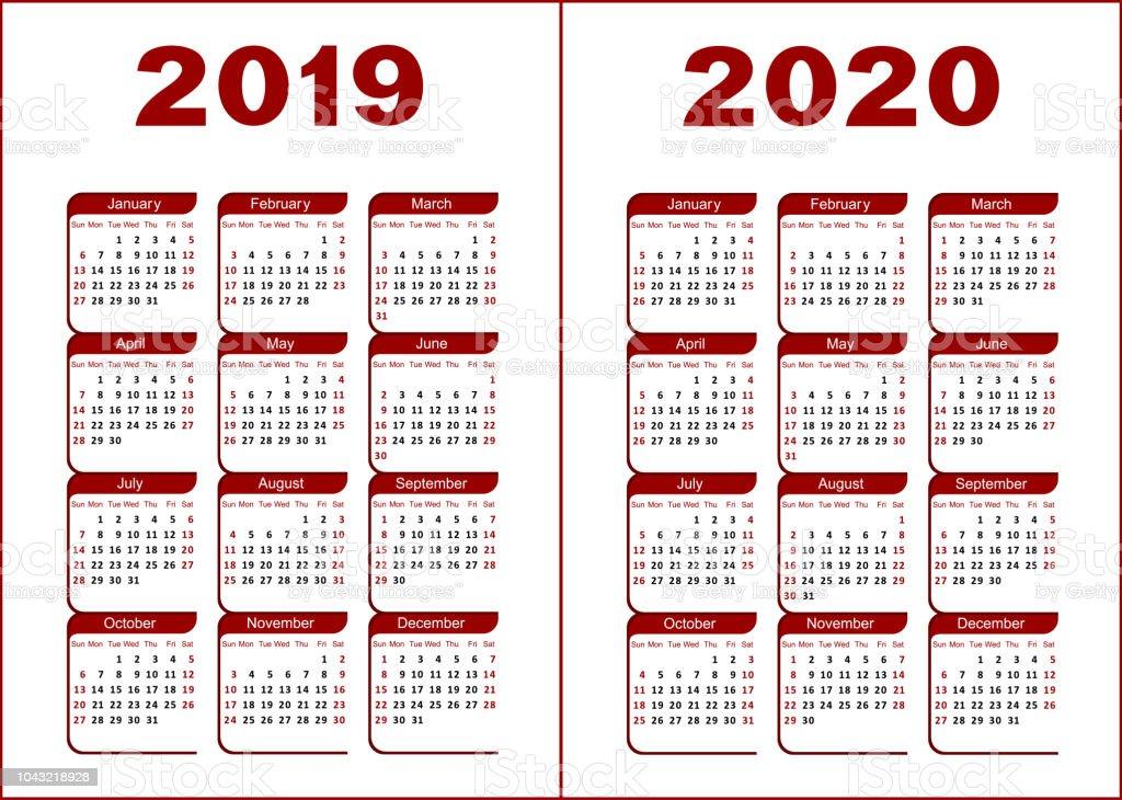 Calendario 2019 2020.Calendar 2019 2020 Stock Illustration Download Image Now Istock