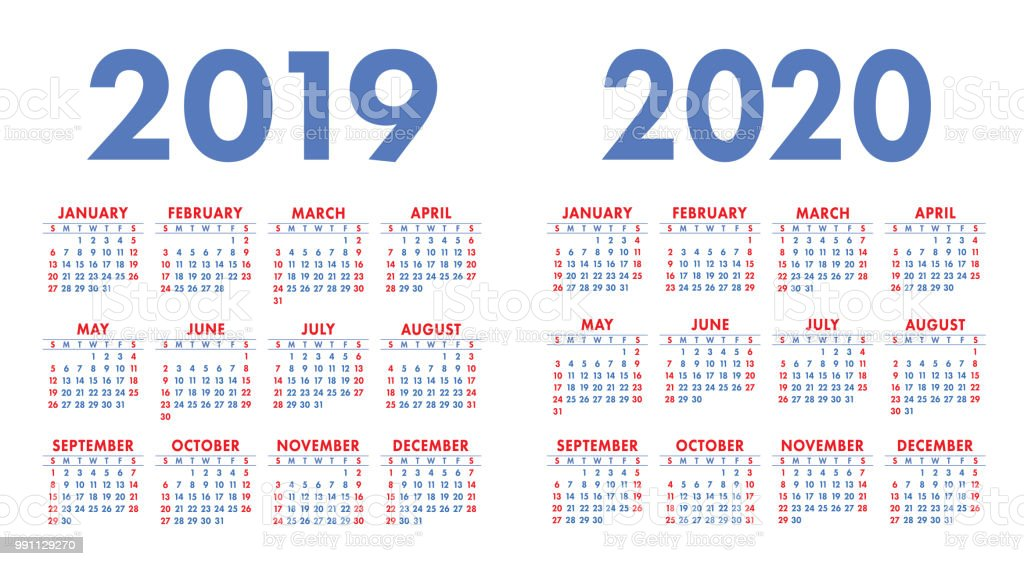 Calendrier 2019 Free.Calendar 2019 2020 Year Colorful Vector Set Week Starts On