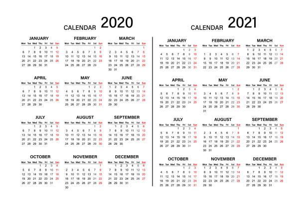 Calendar 2019 2020 year. Week starts on Monday. Year 2020-2021, Calendar Design. Calendar 2019 2020 year. Week starts on Monday. Year 2020-2021, Calendar Design. holiday calendars stock illustrations