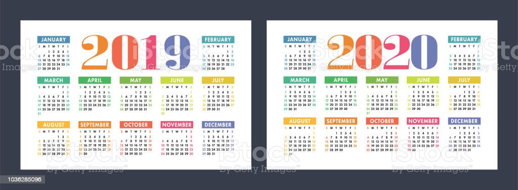 calendar 2019 2020 years basic vector set week starts on sunday