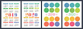 Calendar 2019, 2020 years. Basic vector set. Week starts on Sunday. Design template. Color pencil or brush. Hand drawn