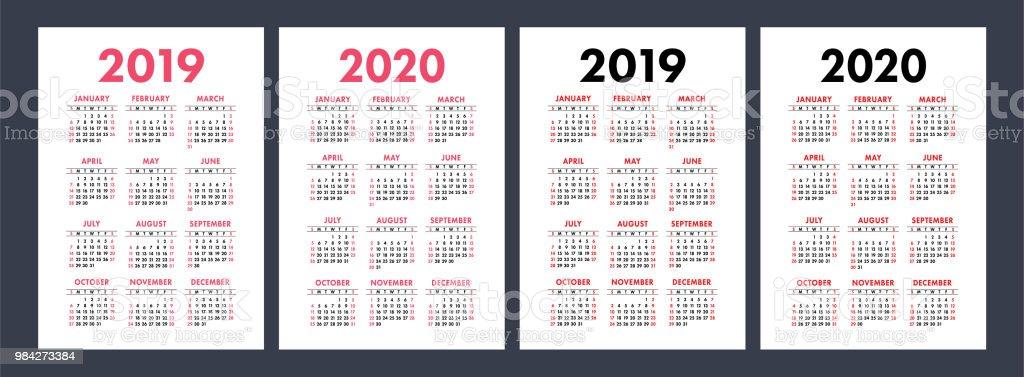 Kalender2019 2020 Jahren Grundlegende Vektorset Woche Beginnt Am ...