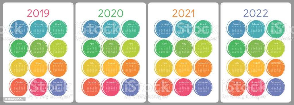 Calendrier Handball 2021 2022 Calendrier 2019 2020 2021 2022 Ans Set De Vector Coloré La Semaine
