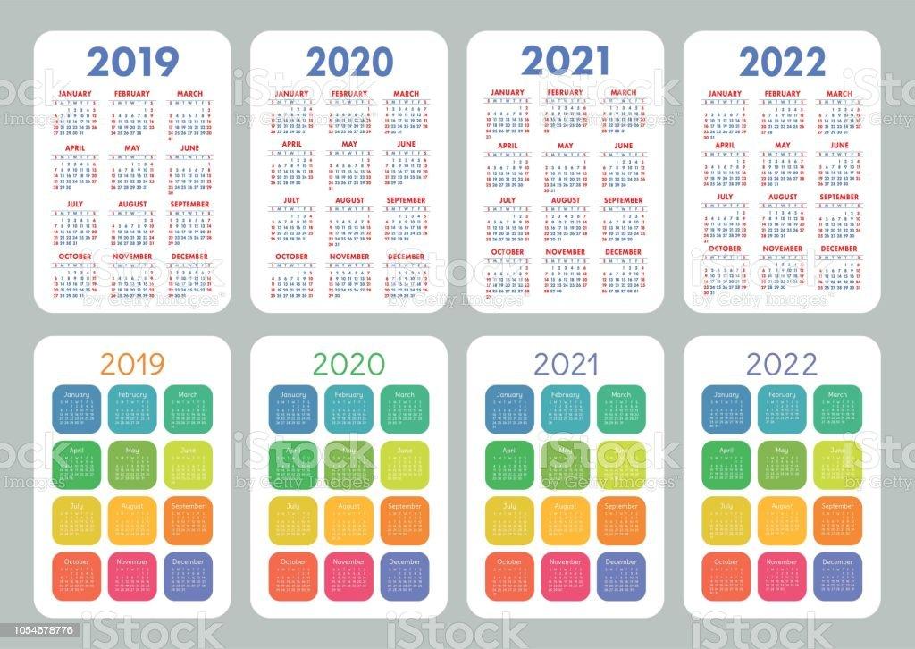 Calendrier 2019 Semaine A Et B.Calendrier 2019 2020 2021 2022 Ans Set De Vector Colore La