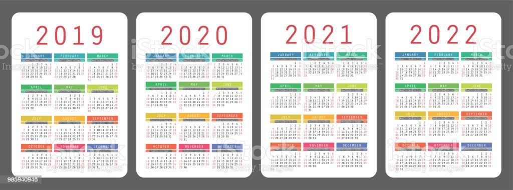 Calendrier 2019 2020 2021 2022 Ans Set De Vector Coloré La Semaine
