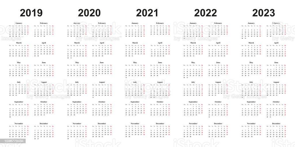 Calendar 2019 2020 2021 2022 2023 White Background Simple Design