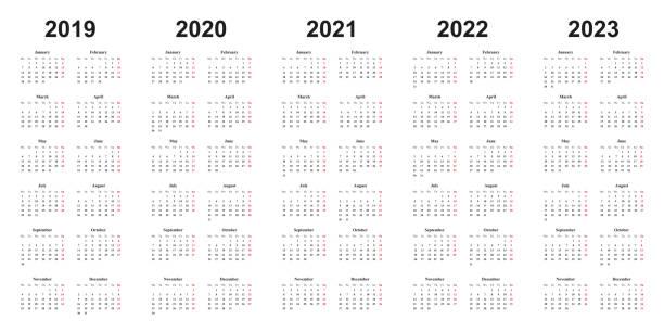 calendar 2019, 2020, 2021, 2022, 2023, white background, simple design - calendar stock illustrations, clip art, cartoons, & icons