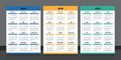 Calendar 2019, 2020, 2021. Colorful calendar template design week start on Sunday.