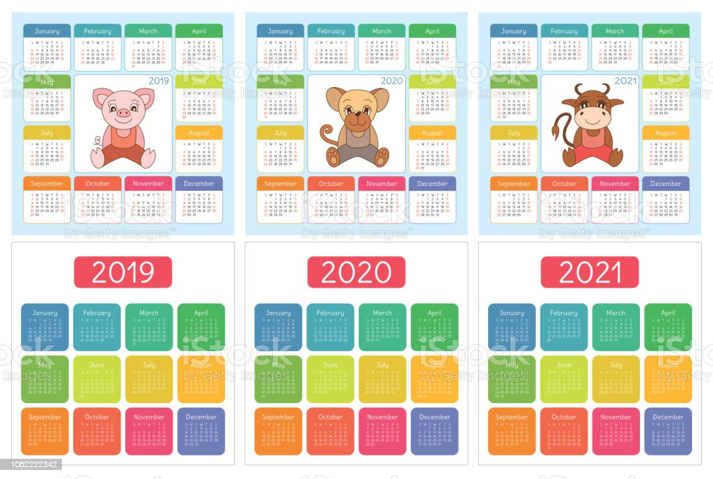 Calendar 2019 2020 2021 English Colorful Set Week Starts On