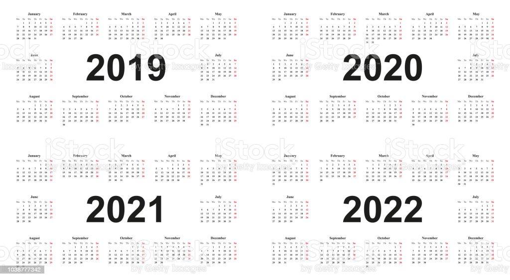 ilustraci u00f3n de calendario 2019 2020 2021 2022 fondo blanco