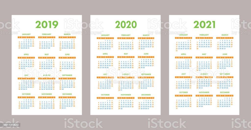 kalender2019 2020 2021 jahren bunte vektorset woche. Black Bedroom Furniture Sets. Home Design Ideas