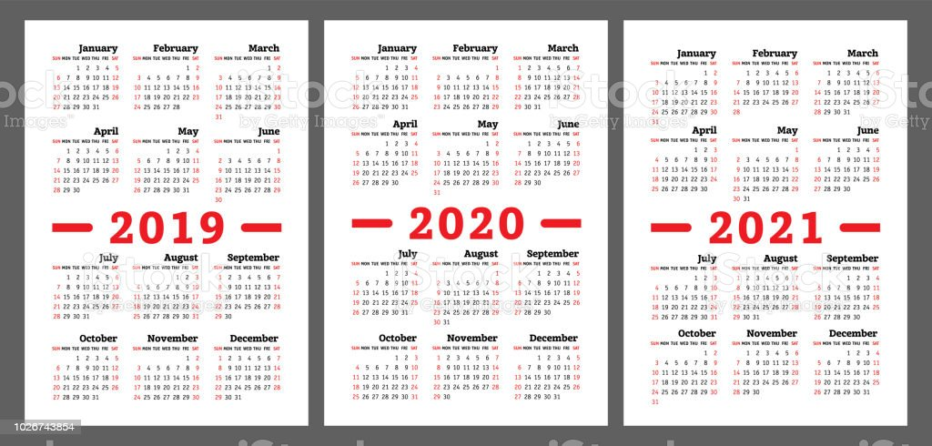 Calendar 2019 2020 2021 Years Vector Set Week Starts On Sunday