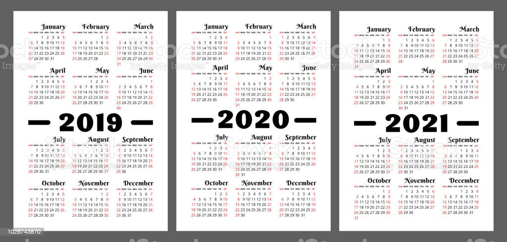Calendario Verticale 2020.Calendar 2019 2020 2021 Years Vector Set Week Starts On