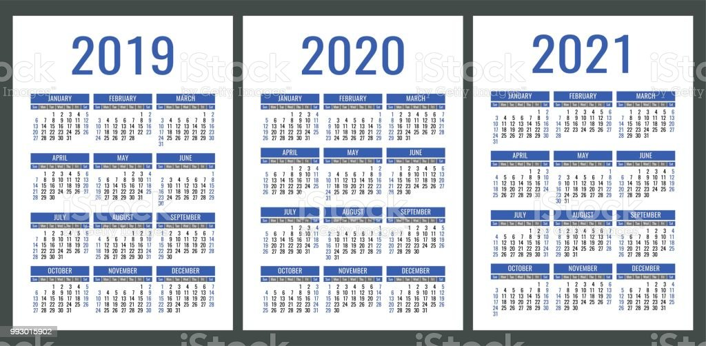 Calendar 2019 2020 2021 Years Vertical Calender Simple Design