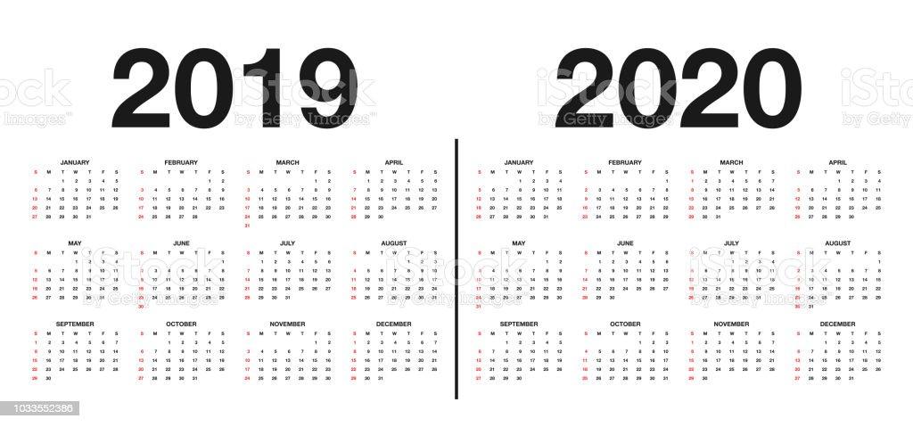 Calendario 2020 Y 2019.Ilustracion De Calendario 2019 Y 2020 Plantilla Diseno De Calendario