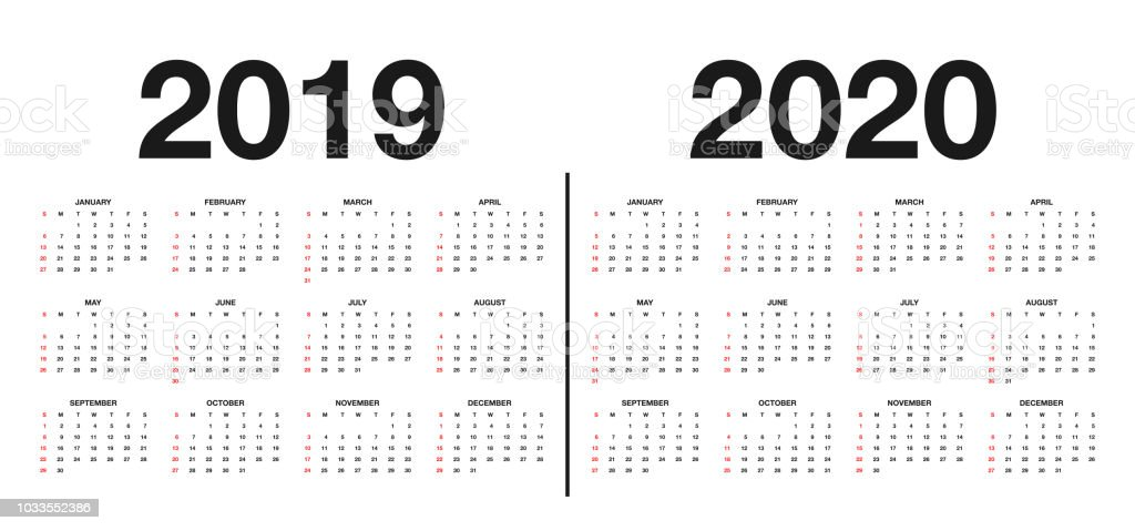 Calendar 2019 and 2020 template. Calendar design in black and white colors, holidays in red colors vector art illustration