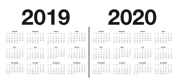 ilustrações, clipart, desenhos animados e ícones de calendário 2019 e 2020 modelo. calendário design nas cores preto e brancas, feriados em cores vermelhas - 2019