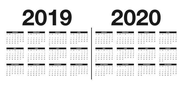 ilustrações, clipart, desenhos animados e ícones de calendário 2019 e 2020 modelo. projeto de calendário nas cores preto e brancos - 2019