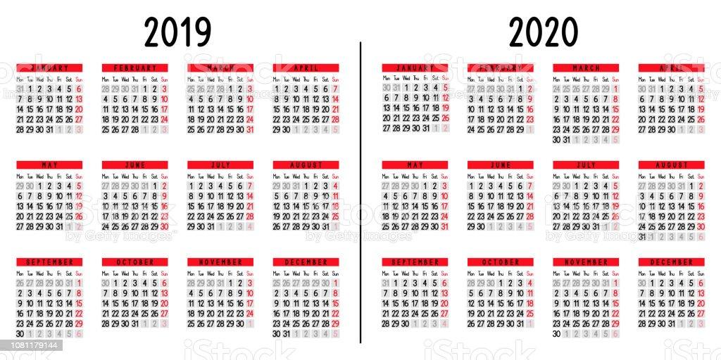 Calendario De 2020 Brasil.Vetores De Calendario 2019 E 2020 E Mais Imagens De 2019