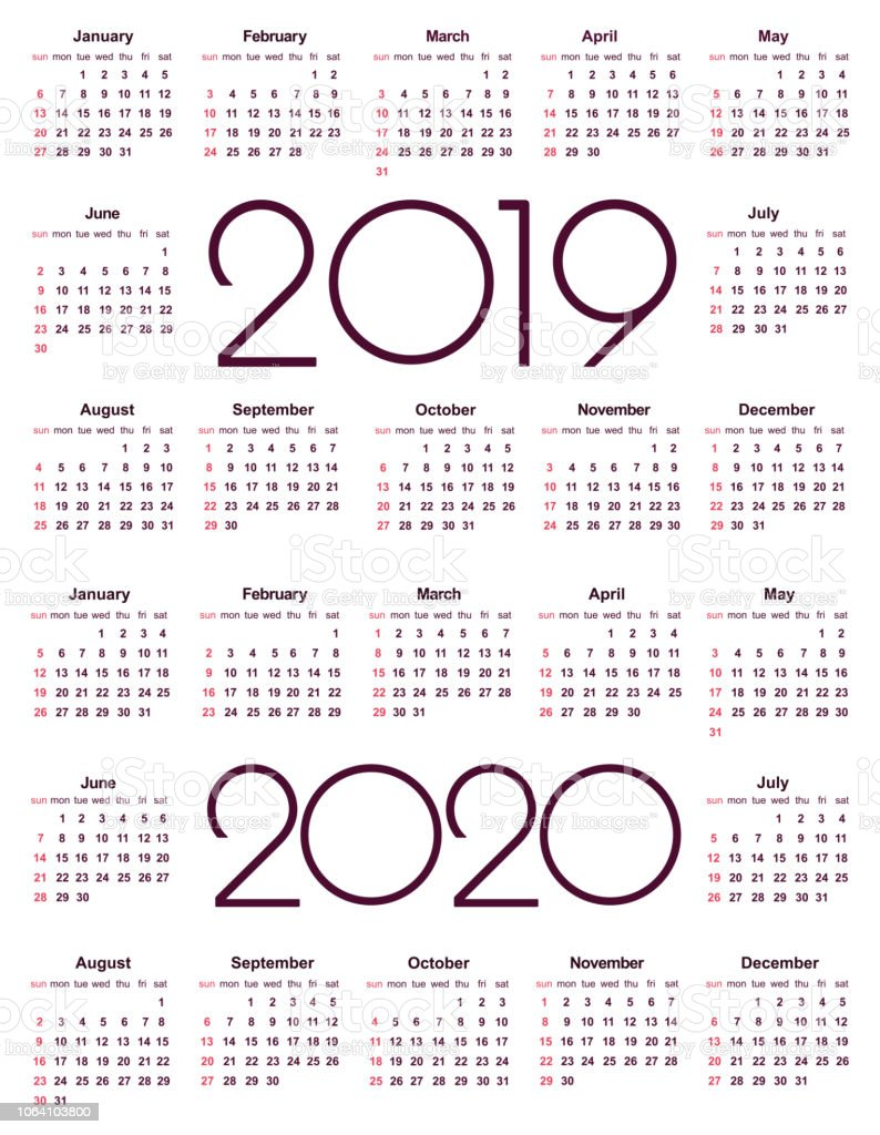 Download Calendario.Calendar 2019 And 2020 Year Stock Illustration Download Image Now
