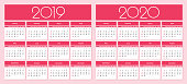 Calendar for 2019 and 2020 year red background. Simple Vector Template. Isolated illustration.