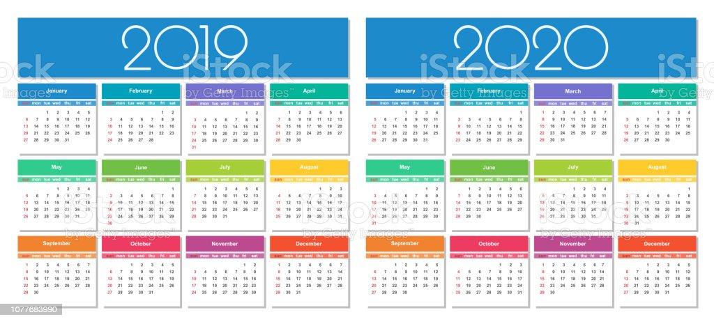 Calendrier 2019 Et 2020.Calendrier 2019 Et 2020 De Lannee Vecteurs Libres De Droits