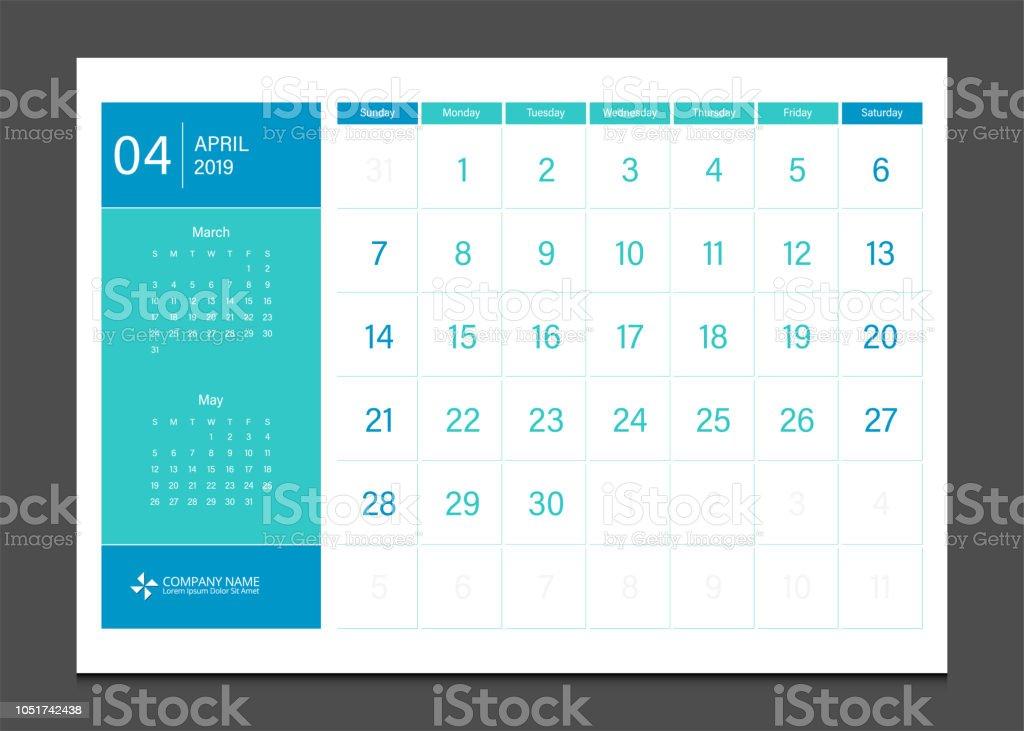 Takvim 2019 Nisan Hafta Başlangıç Pazar Kurumsal Iş Modern Tasarım