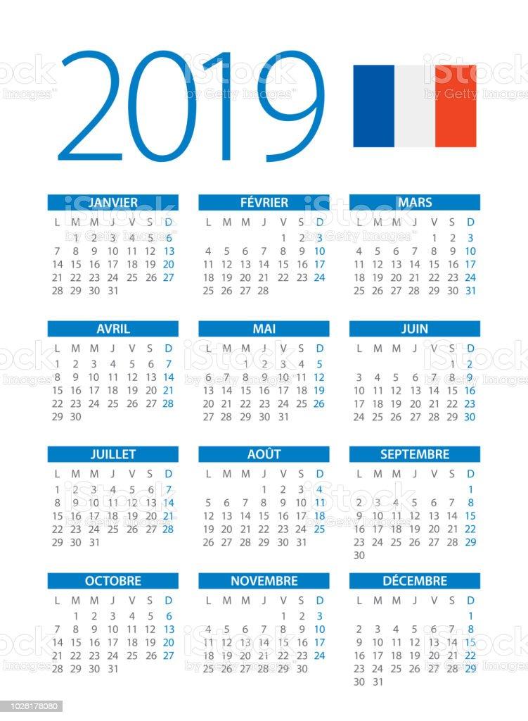 Calendrier Francais 2019.Calendrier 2019 Bleu Simple Illustration Version Francais