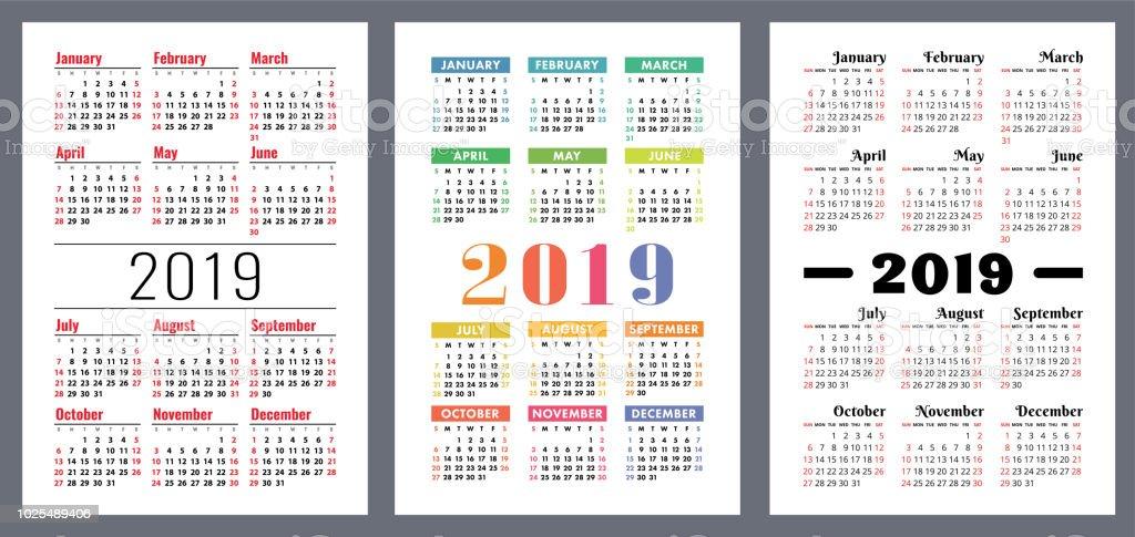 calendar 2019 calender set week starts on sunday basic vector grid