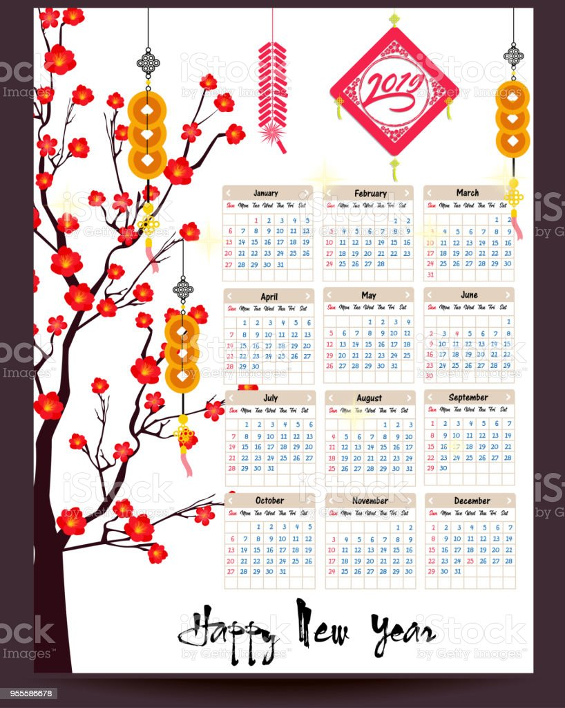 2019 Chinese New Year Calendar Calendar 2019 Chinese Calendar For Happy New Year 2019 Year Of The
