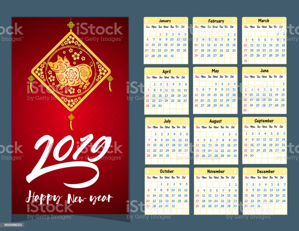 Calendar 2019 Chinese Calendar For Happy New Year 2019 Year Of The Pig  Stock Illustration - Download Image Now