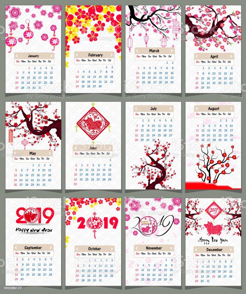 Calendario Chino.Ilustracion De Calendario 2019 Calendario Chino Ano Nuevo
