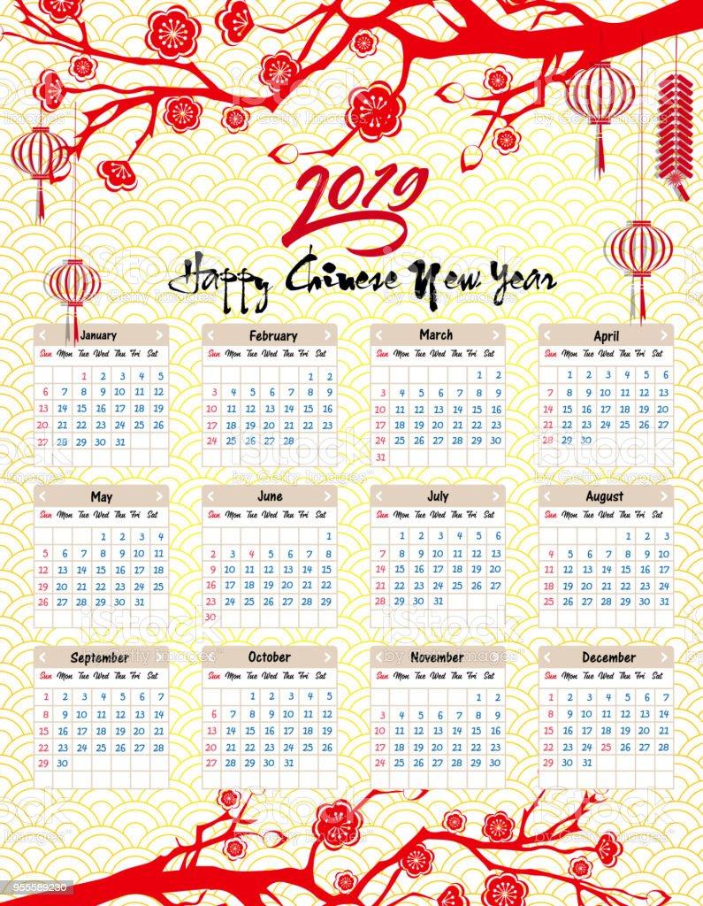 Ilustración de Calendario 2019 Calendario Chino Año Nuevo Feliz Año ...