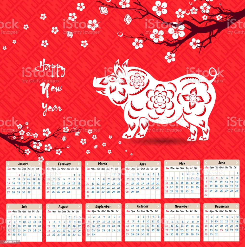 calendar 2019 chinese calendar for happy new year 2019 year of the pig royalty