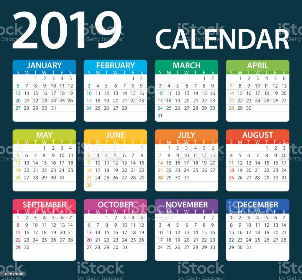 Calendar 2019 Color - illustration. Days start from Sunday vector art illustration
