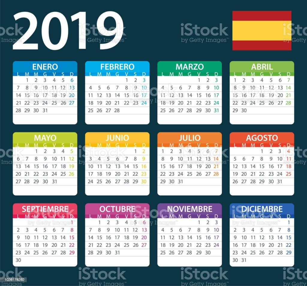 3df2653ad Calendario 2019 Color - ilustración. Versión en Español ilustración de  calendario 2019 color ilustración versión